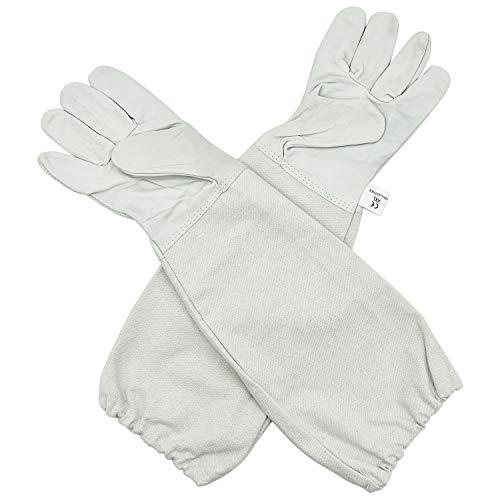 FEIGO 1 Paar Schutzhandschuhe Bienenzucht Handschuhe Ziegenleder mit belüftetem Ärmel für den Anfänger Beekeeper, Männer, Frauen, Bienen