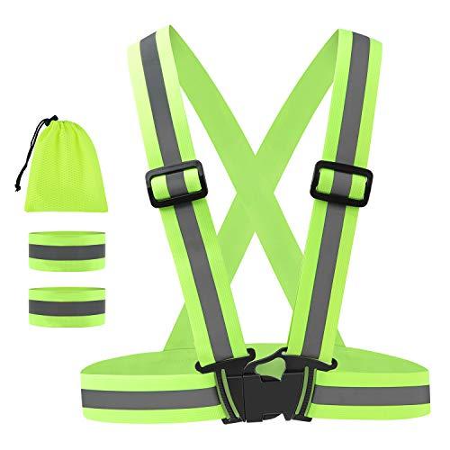 Geldee Warnweste Fahrrad Reflektorweste Sicherheitsweste mit 2 Stück Reflektorband Reflective Cuffs für Erwachsene und Kinder für Outdoor Joggen, Radfahren, Wandern, Motorradfahren