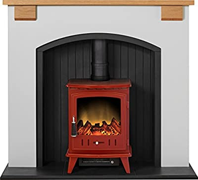 Adam Vermont Stove Suite in Cream with Aviemore Electric Stove in Red, 48 Inch