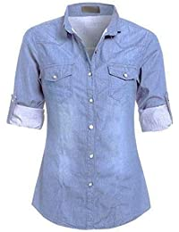 e54dc28e78 Womens Ladies Casual Denim Classic Fitted Shirt Top Sizes 8-16-DENIM-UK