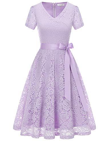 GardenWed Damen Elegant Kleider Spitzenkleid Knielang Rockabilly Kleid Cocktailkleid Abendkleider Lavender XL