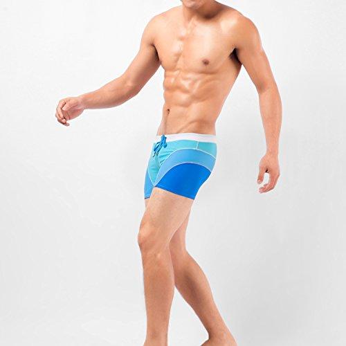 VENI MASEE Boxer Kurze Schwimmbäder für Mann Atmungsaktiv Hohe Elastische Trockene Passform Bademode 3 Farbe M-3XL Blau
