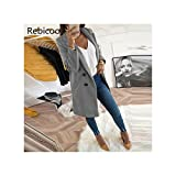 New Women Long Sleeve Turn-Down Collar Outwear Jacket Wool Blend Coat Casual Autumn Winter Elegant Overcoat Loose Plus Size Gray XXXL