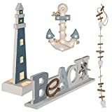 Preis am Stiel 4er Set Holz-Deko ''Marine'' | Geschenkidee | Bad | Dekoration | Wohnaccessoire | Deko | Badezimmer | Wohnzimmer | Holz | Küche | Geschenk für Freunde | Leuchte | Lampe | Schriftzug