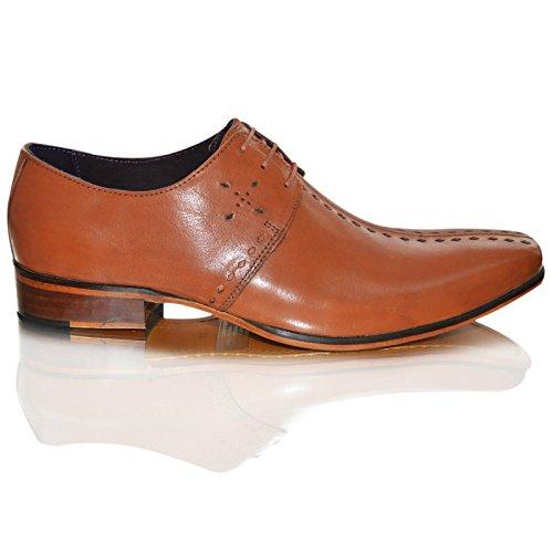 GUCINARI Mens 100%Cuir Italian élégant Bout Pointu Chaussures Habillées À Enfiler Taille Brown Lace-up
