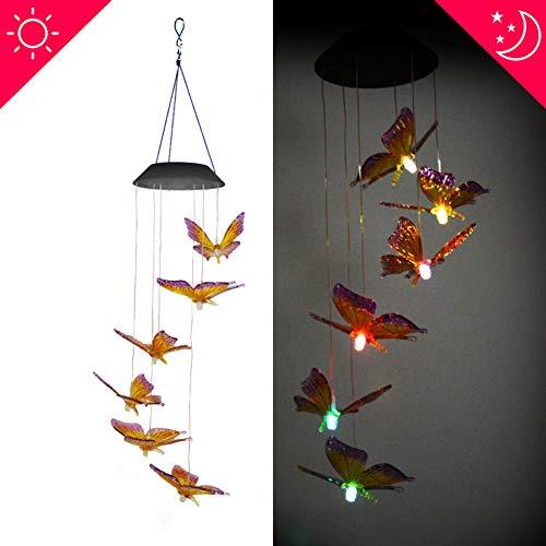 Solar Windspiel Licht Kolibri Solarenergie, Farbwechsel LED Garten Hängelampe, geeignet für Outdoor-Party Dekoration Lichter-Yellow