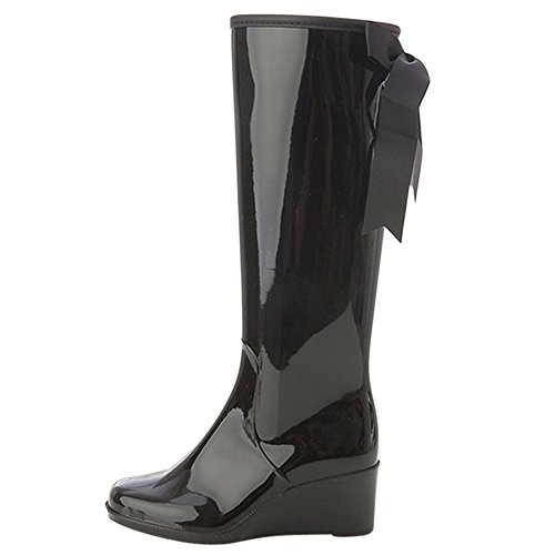 OCHENTA Bottes de pluie Waterproof compensees Noir+Velour