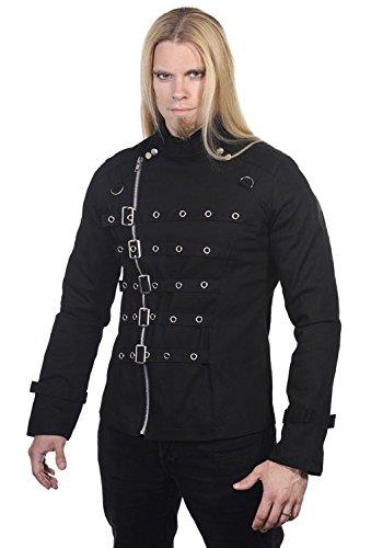 Giacca nera con cintura e chiusura, stile gotico, Banned nero Large