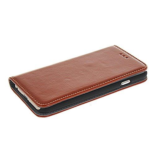 MOONCASE Etui Housse Cuir Portefeuille Case Cover Pour Apple iPhone 6 Brun Brun