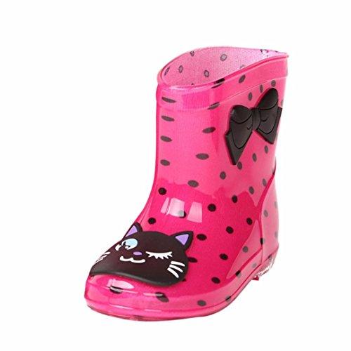 FNKDOR Kinder Gummistiefel Jungen Mädchen Regenstiefel Kurzschaft Waterproof Schuhe (24, Rosa) -