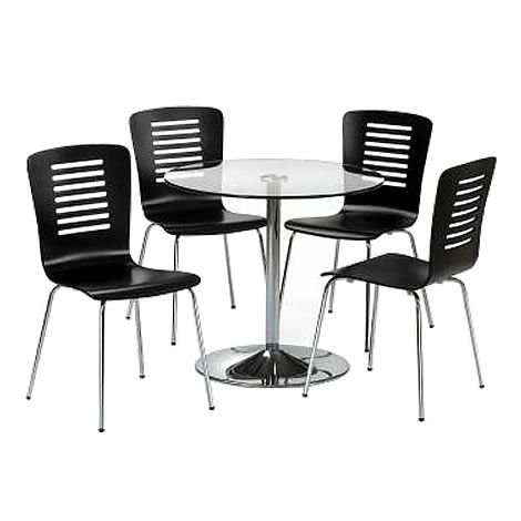 Kudos Round Table - Chrome Base - Glass Top - TABLE ONLY