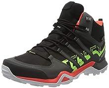adidas Terrex Swift R2 Mid GTX, Scarpe da Trekking Uomo, Core Black/Solar Red/Signal Green, 41 1/3 EU
