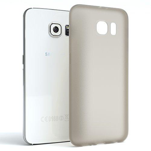 """EAZY CASE Handyhülle für Samsung Galaxy S6 Hülle - Premium Handy Schutzhülle Slimcover """"Clear"""" hochwertig und kratzfest - Transparentes Silikon Backcover in Klar / Durchsichtig Matt Hellgrau"""