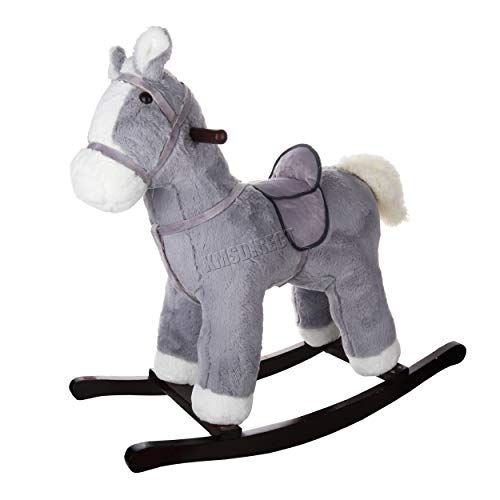 FoxHunter Children's Grey Rocking Horse | NEW Rocking Chair Toy For Kids | Ride On Pony Toy | Wooden Plush Rocker Gift | Traditional Vintage Kids Soft Toys | Toddler Rocker - 1-3 Years