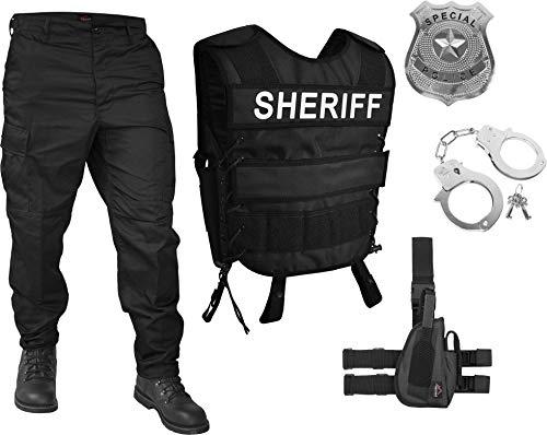 Sheriff Kostüm Abzeichen - normani Sheriff Kostüm Set Unisex für Damen und Herren - bestehend aus Weste mit Patch, BDU-Hose, Abzeichen, Handschellen [S-6XL] Größe 3XL / Links