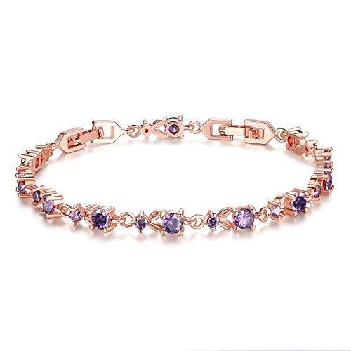 Wostu Luxus Schlanke Rose Gold überzogenes Armband mit lila Funkelnde Zirkonia Steine für Frauen Mädchen