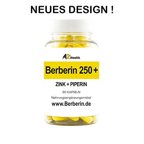 Berberin 250+ mit Zink, Bioperine® und Banabablätter | 90 Kapseln | 100 % VEGAN | Gewichtsregulierend und Diätbegleitend | Entzündungshemmend | Blutzuckerregulierend | Hohe Bio-Verfügbarkeit | Deutsche Pharmaqualität MADE IN GERMANY |