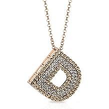 Collar Alphabet letra D de cobre chapado en oro con cristales Longitud 41cm (82abierta) + 4cm ajustable