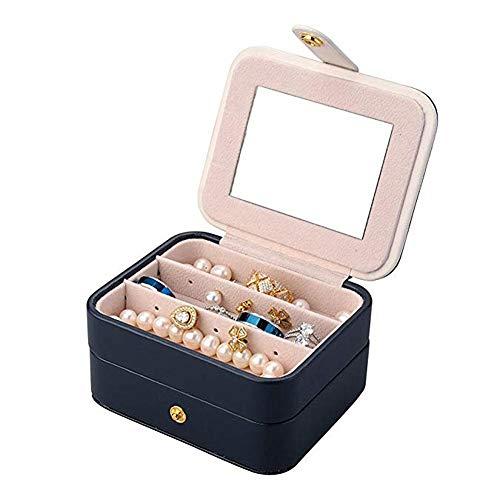 Reisen Schmuck Box Doppelschicht Schmuck Organizer Kleine Größe Aufbewahrungskoffer mit Spiegel für Ring Ohrstecker Halskette Geburtstag Geburtstagsgeschenk (Dunkelblau) (Groß Schmuck-box,)