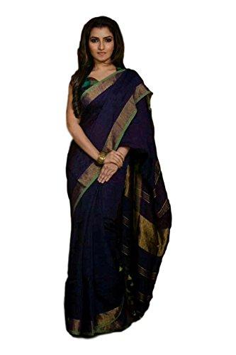 M.S Handloom Women's Linen Saree (5212_Navy Blue & Gold_Free Size)