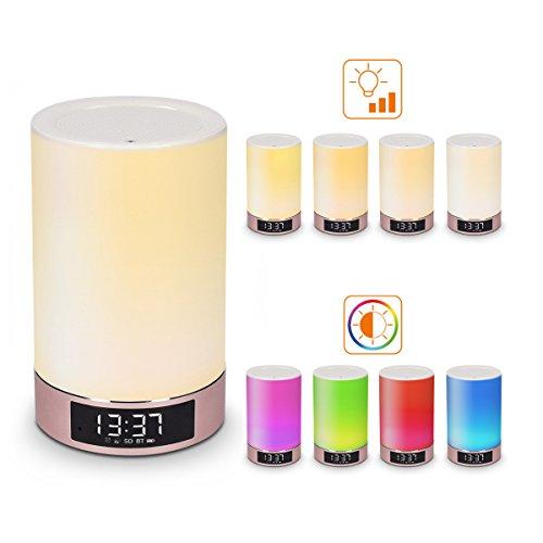 Kwmobile cassa bluetooth portatile lampada - altoparlante con luce led dimmerabile multicolore sveglia con funzione wake-up-light- base oro rosa