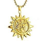 Daesar Halskette Herren Edelstahl Sonne Kette mit Anhänger Gold Freundschaftskette