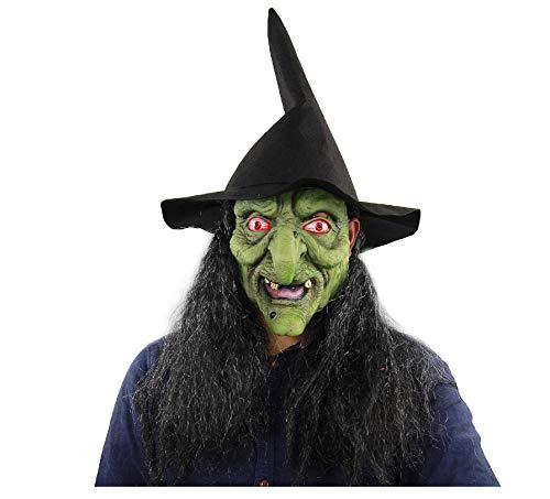 Kostüm Gruselig Paare - wanjuna Hexenmaske mit Hut Haarkostüm Grüne Hexentheatermaske Gruselige Halloweenmaske Kostüm Gruselige Maske