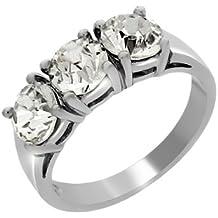 Bijoux pour tous - Anillo de plata de ley con circonita
