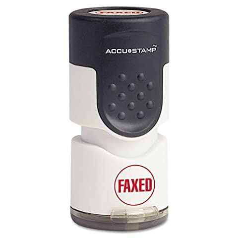 Accustamp Pre-Inked Round Stamp with Microban, FAXED, 5/8 Inch dia, Red by AccuStamp