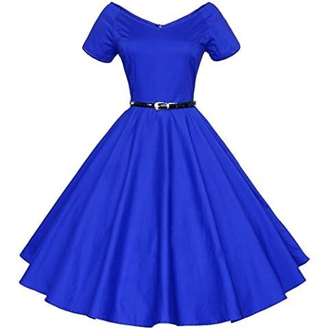 Aivtalk Retro Mujer 50s Vestido Vintage Escote en V Estido de Audrey Hepburn Swing Pinup Rockabilly Swing Dress - Rojo/Negro/Azul a Elegir
