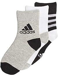 Adidas Ankle S 3 Pair Pack Calcetines, Infantil, Negro, Blanco y Gris, EU 31-34