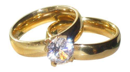 Yourjewellerybox - Anillo con detalle de anillo de matrimonio - para mujer - 18kt bañado en oro amarillo, talla 14 (17,2 mm)