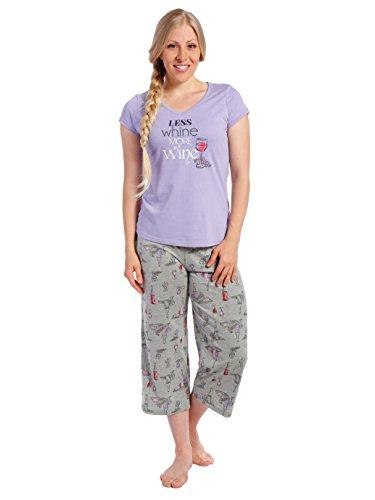 Ensemble Pyjama en Knit Coton pour Jeune Femme Vin Plaignant - Violet
