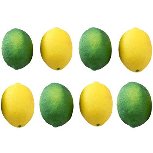 Bestim Incuk 8Stück Künstliche Zitronen und Limetten. Obst für Vasen, Küche Party Dekoration, Gelb und Grün