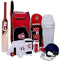 CW Junior deporte Cricket Kit rojo tamaño nº 4con Cachemira sauce bate de Cricket Premium calidad ezzepack Kit de hombro bolsa ideal para 7–8años niño