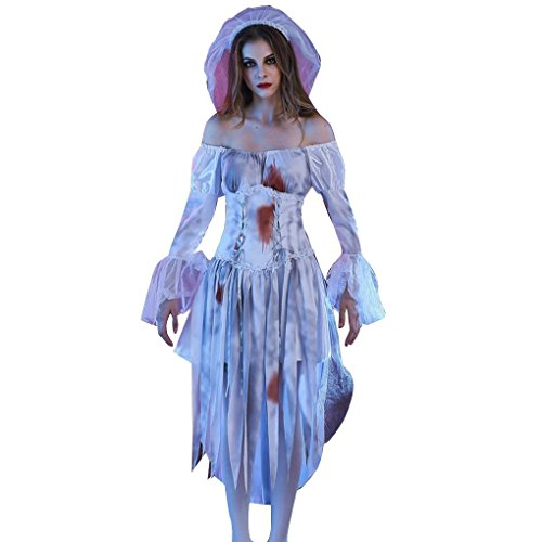 Missley Ghost Braut Kostüm Halloween Cosplay Deluxe Scary Cosplay Kleid mit Blut White Dress (M, (Ghost White Kostüm)