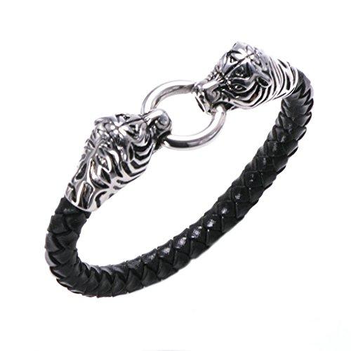 Adisaer Leder Armband Herren Dopplte Tiger gebissen Ring Armreifen Schwarz Edelstahl Armbänder Für Männer Punk (Kleines Mädchen Ghost Kostüme)