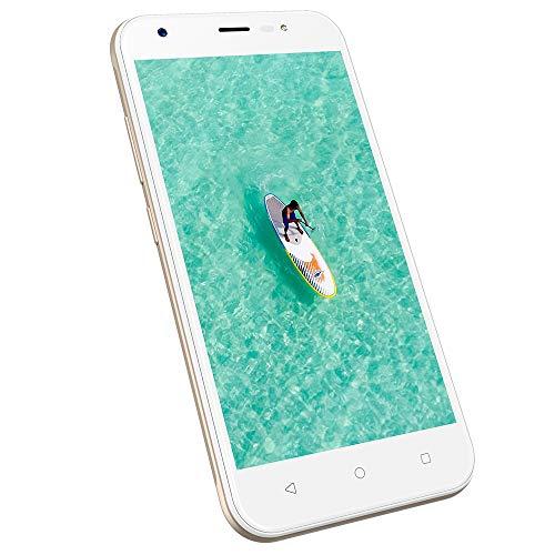 Dual SIM Handy ohne vertrag günstig 3G, 1GB+8GB ROM, 5 Zoll Dual SIM Handys Android 7.0, HD 1280 * 720 Display, Kamera 8MP+5MP, 2400mAh Akku Wieppo S5(Gold)