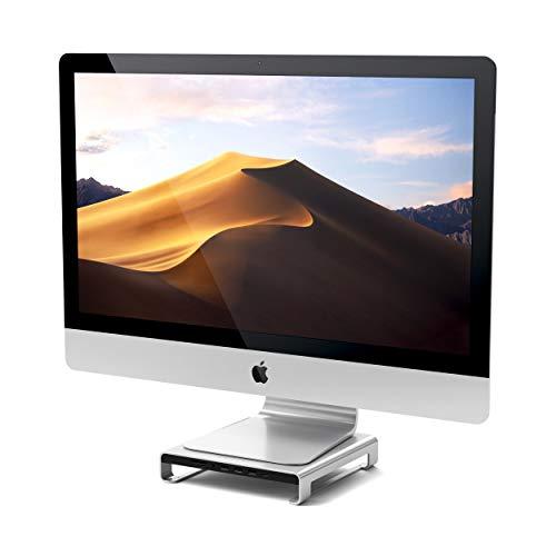 SATECHI Typ-C Aluminium iMac Ständer mit eingebautem USB-C für Daten, USB 3.0, MicroSD/SD- Kartensteckplätzen & Audioanschluss kompatibel mit iMac Pro und 2017 iMac (Silber)