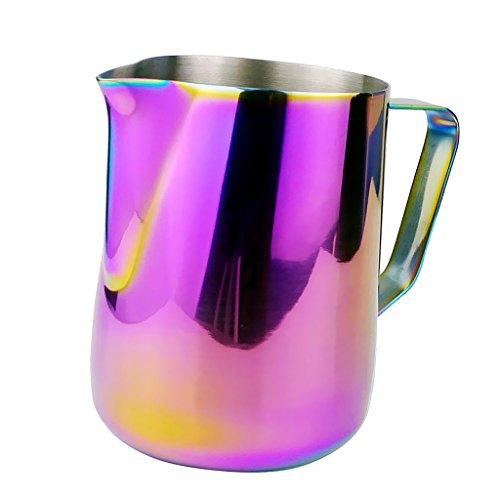 MagiDeal Milchkännchen Milk Pitcher Edelstahl für Milchaufschäumer Kaffee Latte Milch Aufschäumen Krug - Bunt, 600ml thumbnail