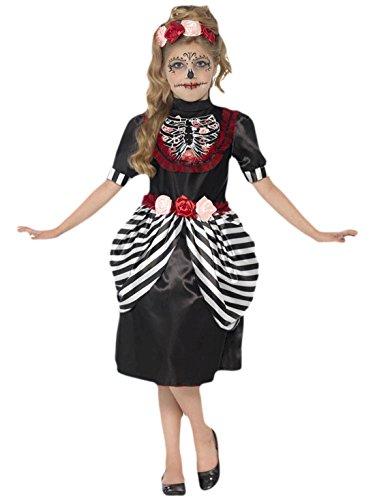 Faschingsfete Mädchen Karneval Halloween Kostüm Sugar Skull, Mehrfarbig, Größe 140-152, 10-12 Jahre