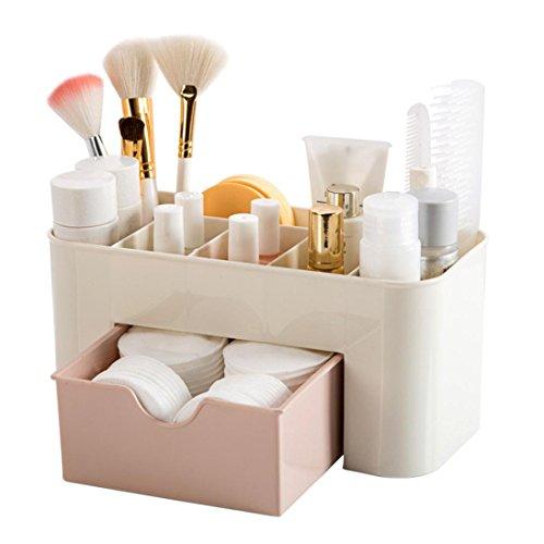 DIKEWANG Adjustable Multifunctional Make up Organizer Fits Toner, Creams, Makeup Brushes, Lipsticks Saving Space Desktop Comestics Makeup Storage Box with Drawer