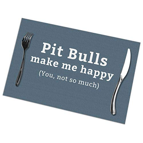 Dimension Art Happy Pitbull Placemats Set of 4 for Dining Table Washable Polyester Placemat Non-Slip Wear and Heat Resistant Kitchen Table Mats Easy to Clean -