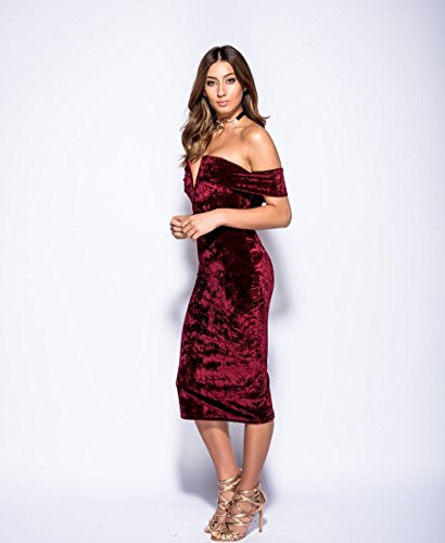 Ladies Plunge Neck Crushed Velvet Bardot Midi Dress EUR Taille 36-42 Du vin