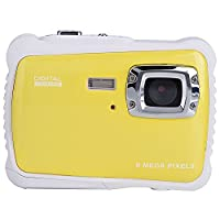 TOP-MAX Digital Underwater Kids Camera Waterproof Dustproof with 2.0' TFT LCD Screen D720p 12MP for Swimming Diving and Beaching(Yellow)