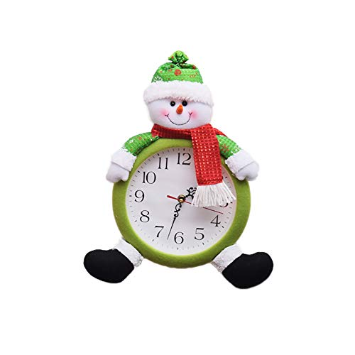 Wudi 1PC Weihnachtsweihnachtsmann-Schneemann hängend Uhr Batteriebetriebene Uhr Mini Ornament Hauptwanddekor Uhr (Schneemann)