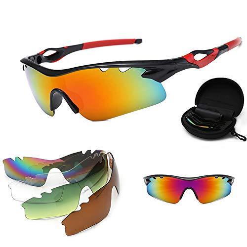 CHIRORO Polarisierte Sport Sonnenbrille Unisex Radbrille UV-Schutz Fahrradbrille Sportbrille mit UV400 5 Wechselgläser zum Radfahren, Klettern, Sports, Fahren,03#