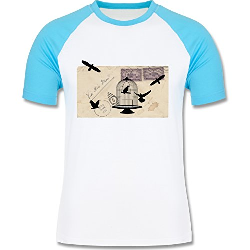 Eulen, Füchse & Co. - Alter Brief Vogelkäfig - zweifarbiges Baseballshirt für Männer Weiß/Türkis