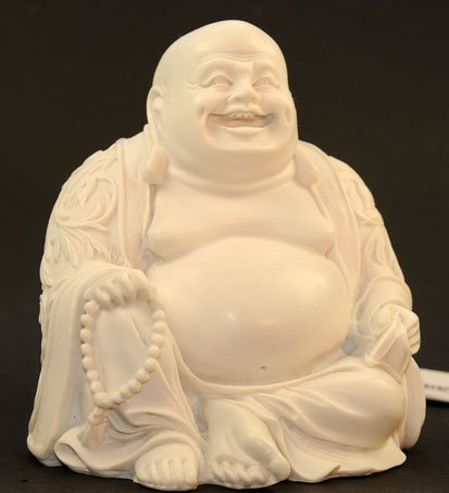 Figur Happy Buddha, Lachender Buddha, Hotei aus Alabaster, Glücksbuddha