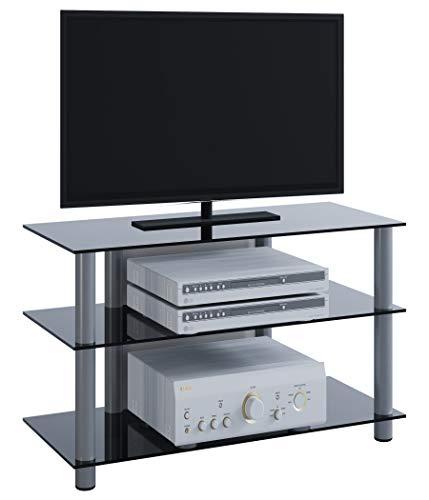 VCM TV Rack Lowboard LCD LED Konsole Fernsehtisch Möbel Bank Glastisch Tisch Schrank Aluminium / Schwarzglas
